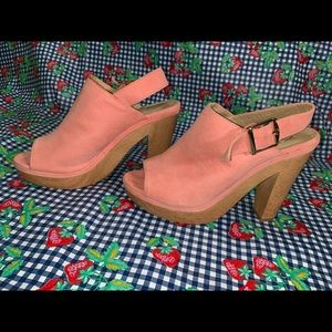 NY&C Pink suede chunky heel